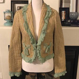 Size 8 - True Meaning Tweed Jacket w/ Ruffle Trim